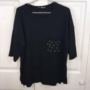 Zara l Pearl Pocket Short Sleeve Sweater
